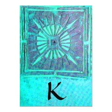 MORNING STAR , bright blue teal,white Card