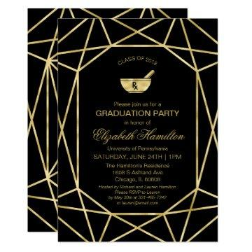 Mortar and Pestle Pharmacy School Grad Party Gold Invitation