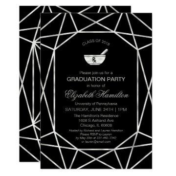 Mortar & Pestle Rx Pharmacy School Grad Party Gem Invitation