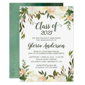 Nature Greenery Floral Class of 2020 Graduation Invitation