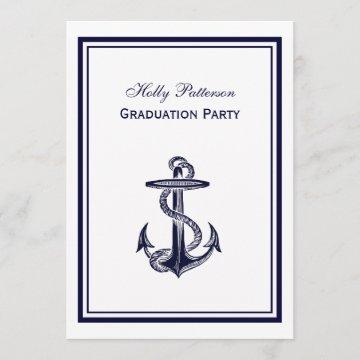 Nautical Anchor Navy Blue Framed 2V Graduation Invitation