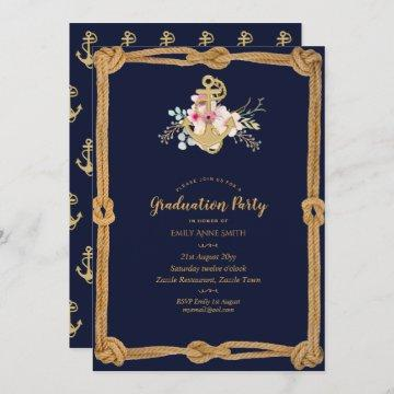Nautical Navy Blue Gold Graduation Party Invites