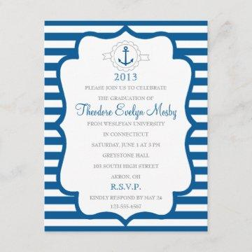 Nautical Theme Graduation Invitation