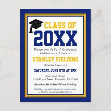 Navy and Gold Graduation Party Invitation Postcard