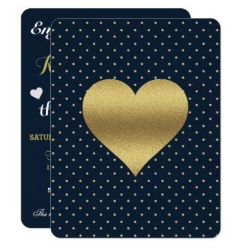 Navy And Gold Heart & Polka Dot Shower Party Invitation
