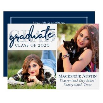 Navy and White Graduate | Modern Blue Brush Photo Invitation
