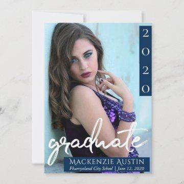 Navy and White Graduate | Modern Dark Blue Photo Announcement