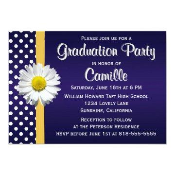 Navy and Yellow Daisy Graduation Party Card