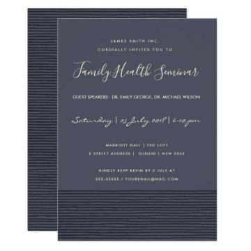 NAVY BLACK SKETCH STRIPE LINE TALK SEMINAR EVENT INVITATION