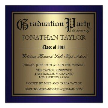Navy Blue and Gold Graduation