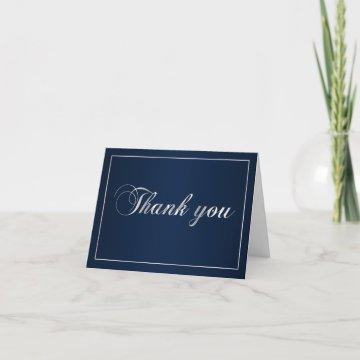 Navy Blue and Silver Thank You Note