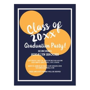 Navy Blue and Yellow Orange Graduation Party Postcard