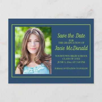 Navy Blue Lime Green Graduation Save the Date Announcement Postcard