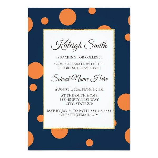 Navy Blue Orange Polka Dot College Trunk Party Card