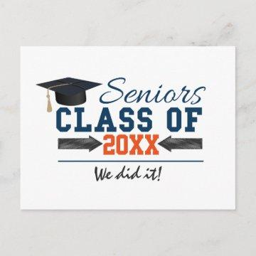 Navy Blue Orange Typography Graduation postcard