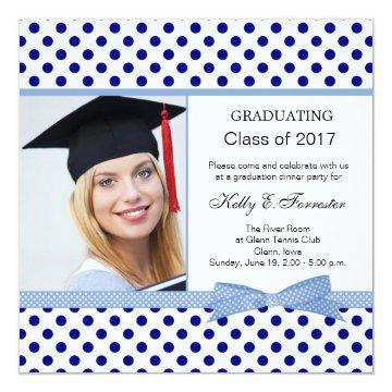 Navy blue polka dot Graduation Party Card