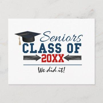 Navy Blue Red Typography Graduation postcard