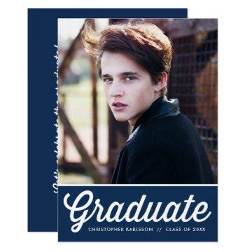 Navy Blue Retro Typography Photo Graduation Party Card