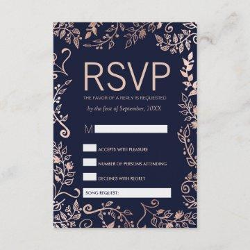 Navy Blue Rose Gold Floral RSVP and Song Request