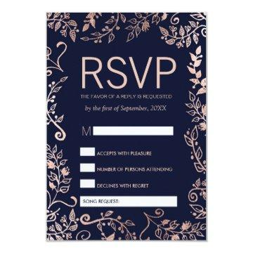 Navy Blue Rose Gold Floral RSVP and Song Request Card