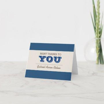 Navy Blue & Silver Thank You Note