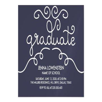 Navy Blue Simple Casual Graduate Typography Magnetic Card