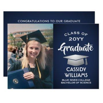 Navy Blue White Silver Graduate Photo Graduation Invitation