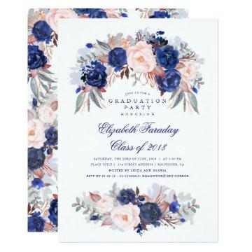 Navy Floral Elegant and Modern Graduation Party