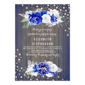 Navy Floral Rustic Graduation Party