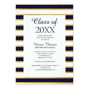 Navy Gold Bold Stripe Graduation