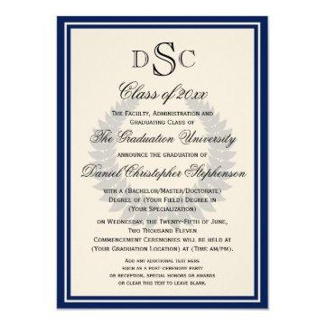 Navy Monogram Laurel Classic College Graduation Invitation