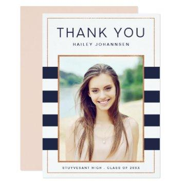 Navy Stripes Photo Graduation Thank You Card