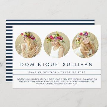 NAVY THREE PHOTO CIRCLE | GRADUATION INVITATION