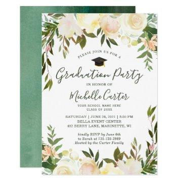 Neutral White Greenery Floral Graduation Party Invitation
