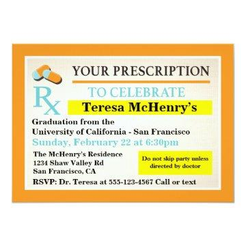Nurse Doctor Medical Graduation Prescription label Card