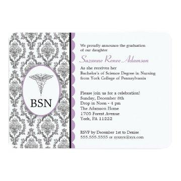 Nurse Graduation BSN RN black lavender damask