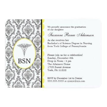 Nurse Graduation BSN RN black yellow damask Card