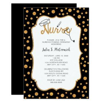 Nurse graduation, faux gold + you change color invitation