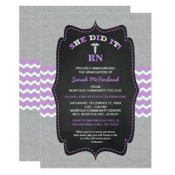 Nurse graduation invites, lavender gray chalkboard card