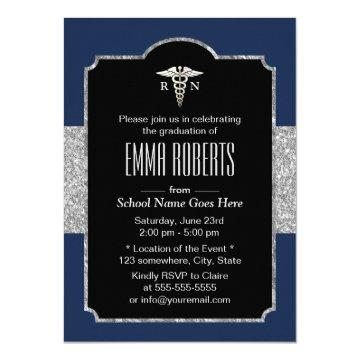Nurse Graduation Party Elegant Navy Blue & Silver Invitation