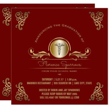 Nurse Graduation Party | Red Gold Pinning Ceremony Invitation