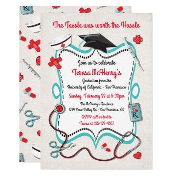 Nurse Medical Graduation Invitation with icons