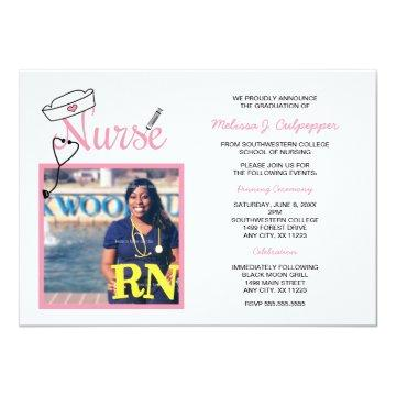 Nurse photo graduation pinning celebration / pink invitation