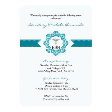 Nurse pinning or graduation party RN BSN teal Invitation