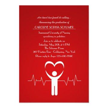Nurse's Loving Hands Nursing School Graduation Inv Card