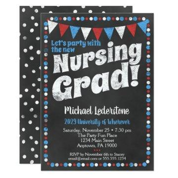 Nursing Graduation Party  Red Blue