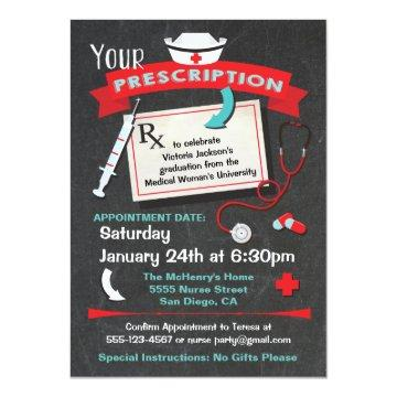 Nursing School Graduation Party Prescription Invitation