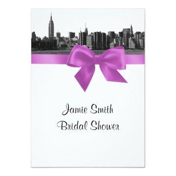 NYC Wide Skyline Etched BW Lilac Bridal Shower Invitation