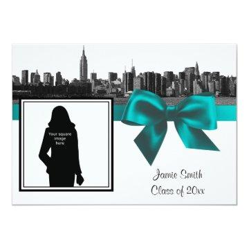NYC Wide Skyline Etched BW Teal Photo Graduation Invitation