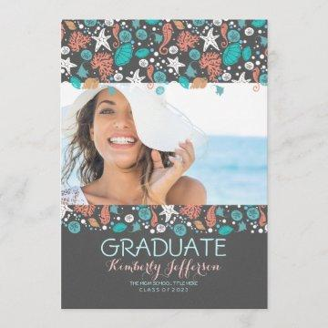 Ocean Treasures Beach Photo Graduation Party Invitation